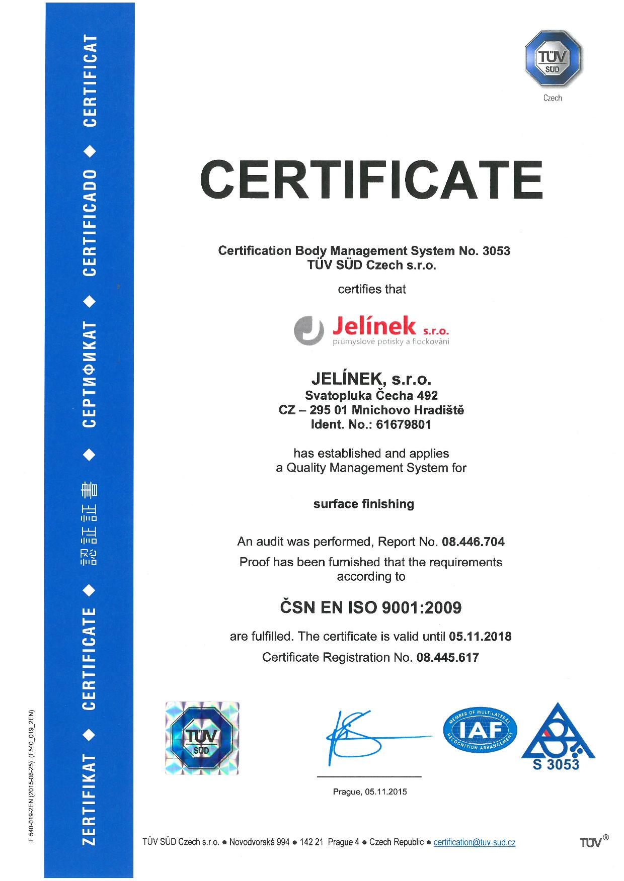 Certifikát ISO 9001 - english version